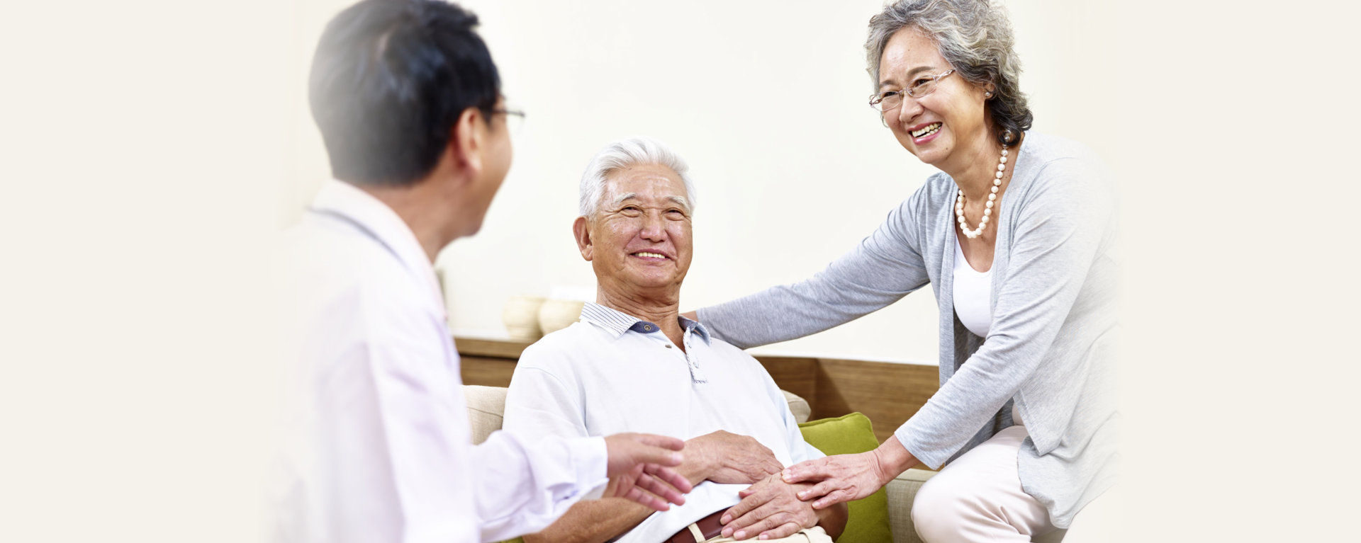 seniors having a happy conversation
