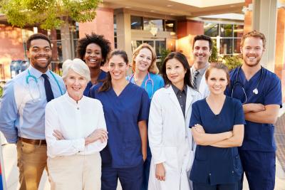 medical team standing outside