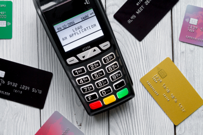 payment card through terminal in store