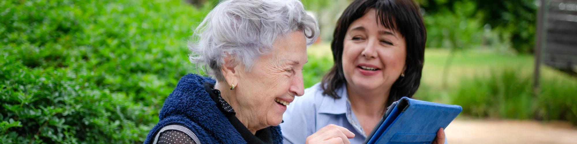 senior patient and her caregiver